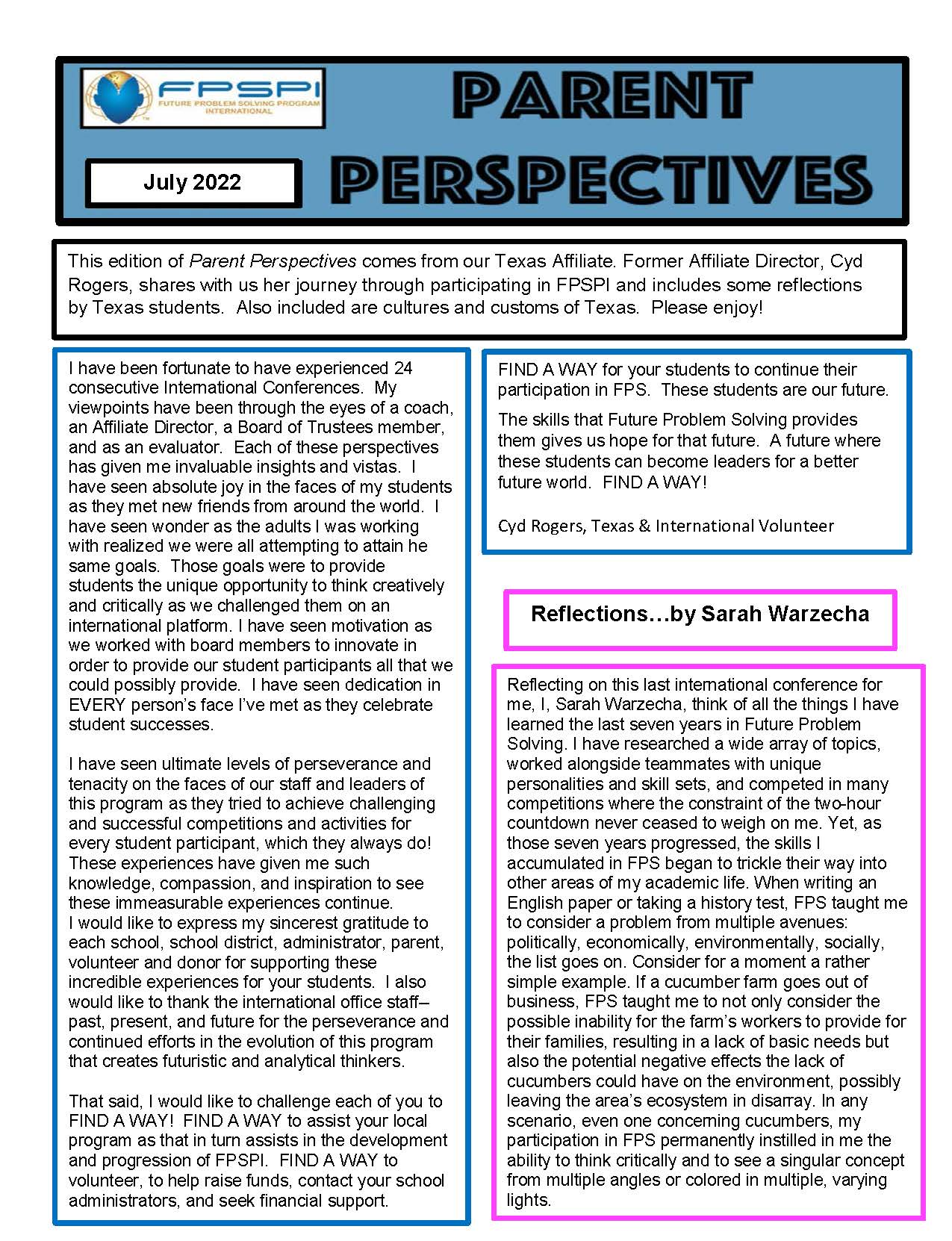 Parent Perspectives Newsletter